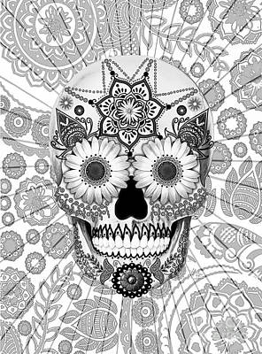 Black And White Mixed Media - Sugar Skull Bleached Bones - Copyrighted by Christopher Beikmann