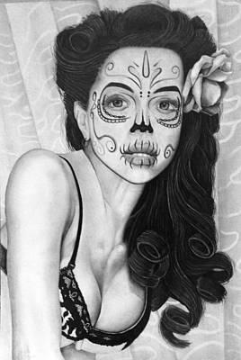 Sugar Skull Girl Drawing - Sugar Skull Face by Gary Reising