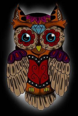 Tattoo Flash Digital Art - Sugar Skull Owl by Niklas  Bates