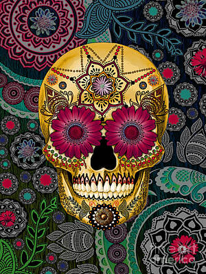 Jewel Mixed Media - Sugar Skull Paisley Garden - Copyrighted by Christopher Beikmann