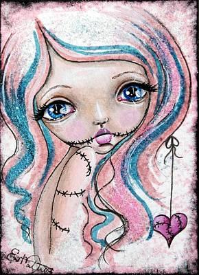 Creepy Card Mixed Media - Sugar Spun Zombie by Lizzy Love of Oddball Art Co