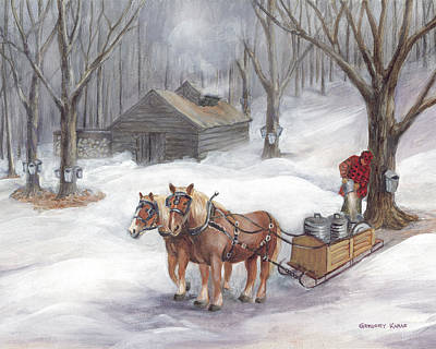 New England Snow Scene Painting - Sugaring Time Again by Gregory Karas