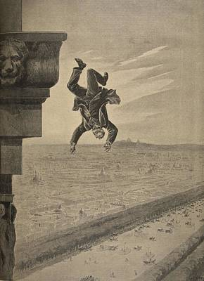 Falling Drawing - Suicide At The Arc De Troimphe by Henri Meyer