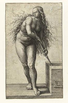 Lucas Van Leyden Drawing - Suicide Of Lucretia by Lucas van Leyden