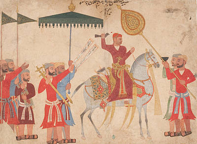 Sultan Hussain Nizam Shah I Of Ahmadnagar On Horseback Print by Indian School