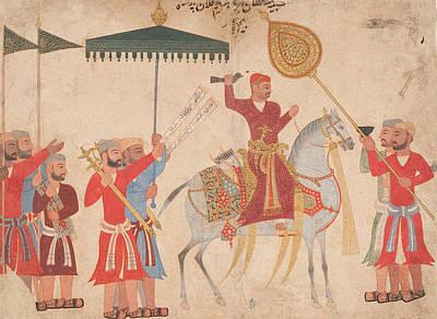 Regalia Painting - Sultan Hussain Nizam Shah I Of Ahmadnagar On Horseback by Indian School