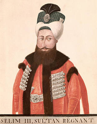 Sultan Selim IIi 1761-1808 18th-19th Century Wc On Paper Print by Turkish School