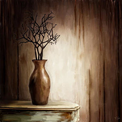 With Texture Painting - Sultry Brown- Distressed Art by Lourry Legarde