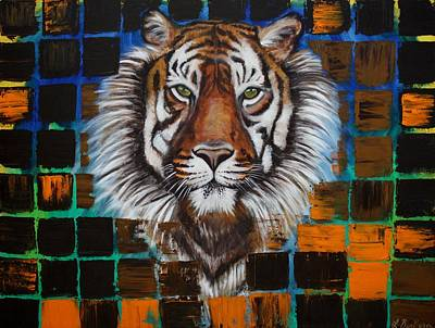 Jungle Cat Painting - Sumatran Tiger by Laura Barbosa