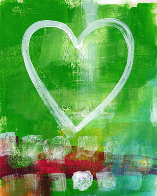 Sumer Love- Abstract Heart Painting Print by Linda Woods