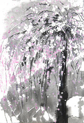 Sumie No.19 Weeping Cherry Blossoms Print by Sumiyo Toribe