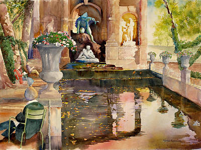 Ressler Painting - Summer Afternoon At Medici Fountain. by John Ressler