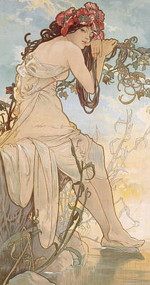 Leaning Drawing - Summer by Alphonse Marie Mucha