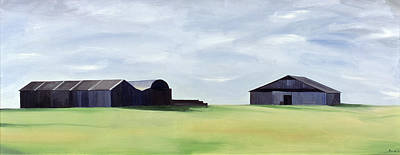 Barn Landscape Painting - Summer Barns by Ana Bianchi