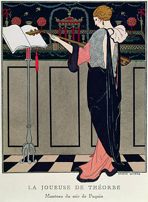 Evening Dress Painting - Summer Evening Wear From Art Gout Beaute by Georges Barbier