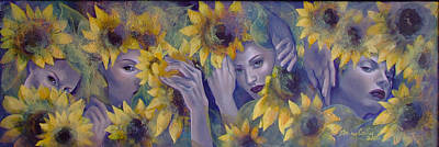 Women Faces Painting - Summer Fantasy by Dorina  Costras