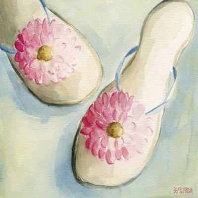 Summer Flip Flops Shoe Paintings Print by Beverly Brown