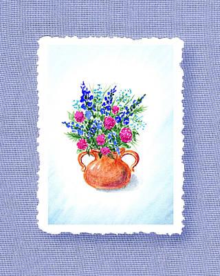 Summer Flowers Bouquet Botanical Impressionism Print by Irina Sztukowski