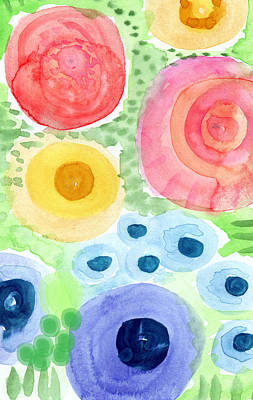 Flowers And Roses Mixed Media - Summer Garden Blooms- Watercolor Painting by Linda Woods
