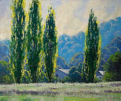 Gum Tree Painting - Summer Greens by Graham Gercken