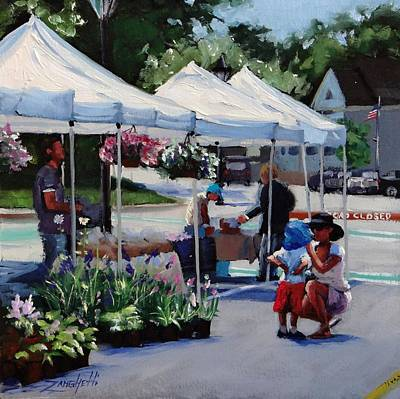 Flags Painting - Summer In Hingham Two by Laura Lee Zanghetti