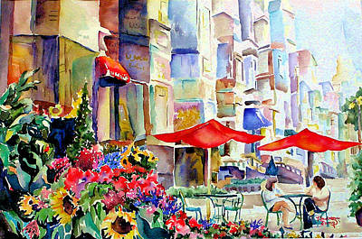 Garden Scene Mixed Media - Summer In The City by Barbara Jung