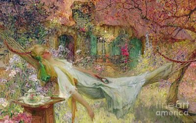Swinging Painting - Summer In The Garden by Darien Henri-Gaston
