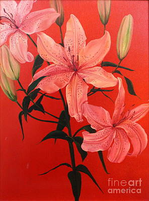 Dlgerring Painting - Summer Lilies by D L Gerring