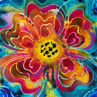 Blue Abstracts Painting - Colorful Flower Art - Summer Love By Sharon Cummings by Sharon Cummings