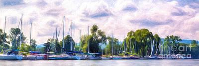 Finger Lakes Digital Art - Summer Morning At Johnson's Boatyard by Michele Steffey