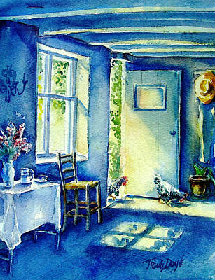 Wicker Chair Painting - Summer Morning Visitors  by Trudi Doyle