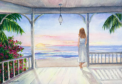 Palm Frond Painting - Summer Morning Watercolor by Michelle Wiarda