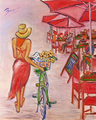 Woman Painting - Summer Stroll By A Cafe by Xueling Zou