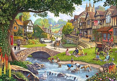 Kingfisher Painting - Summer Village Stream 2015 by Steve Crisp