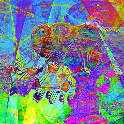 Dipper Digital Art - Summertime At Santa Cruz Beach Boardwalk 5d23905 Square by Wingsdomain Art and Photography