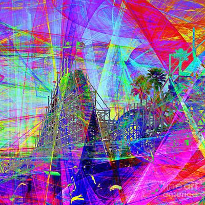 Dipper Digital Art - Summertime At Santa Cruz Beach Boardwalk 5d23930 Square by Wingsdomain Art and Photography