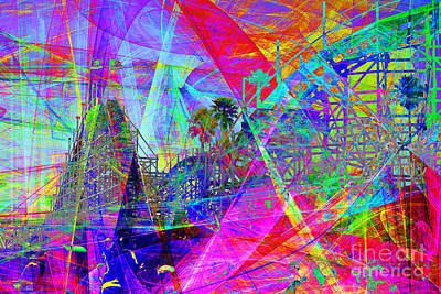 Dipper Digital Art - Summertime At Santa Cruz Beach Boardwalk 5d23930 by Wingsdomain Art and Photography