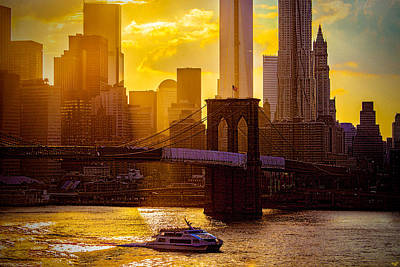 Summertime At The Brooklyn Bridge Print by Chris Lord