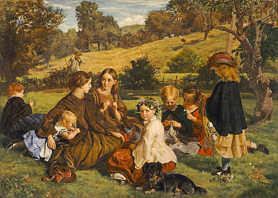 Gathering Photograph - Summertime, Gloucestershire, Exh.1860 Oil On Canvas by James Archer