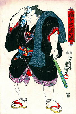 Sumo Wrestler Somagahana Fuchiemon 1848 Print by Padre Art