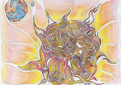 Sun And Earth Abstract Drawing Design Print by Minding My  Visions by Adri and Ray