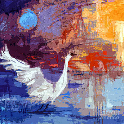 Sun And Moon Swan Rising Print by Ginette Callaway