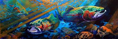 Savlen Painting - Sun And Steel Steelhead Trout Painting by Savlen Art