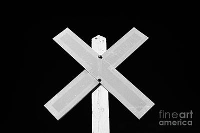 sun bleached railroad crossing sign Saskatchewan Canada Print by Joe Fox
