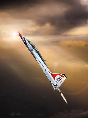 Fighters Digital Art - Sun Chaser 5 T-38 by Peter Chilelli