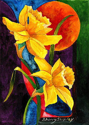 Spring Bulbs Painting - Sun Daffoldils by Sherry Shipley