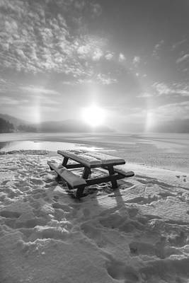 Sunset In Norway Photograph - Sun Dog Bw by Rose-Maries Pictures