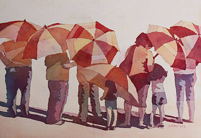 Umbrella Painting - Sun Drenched Parasols  by Jenny Armitage