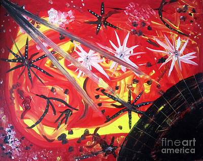 The Universe Painting - Sun Explosion by Veronica V Bahman