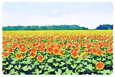 Sun Flower Landscape Print by Yury Malkov